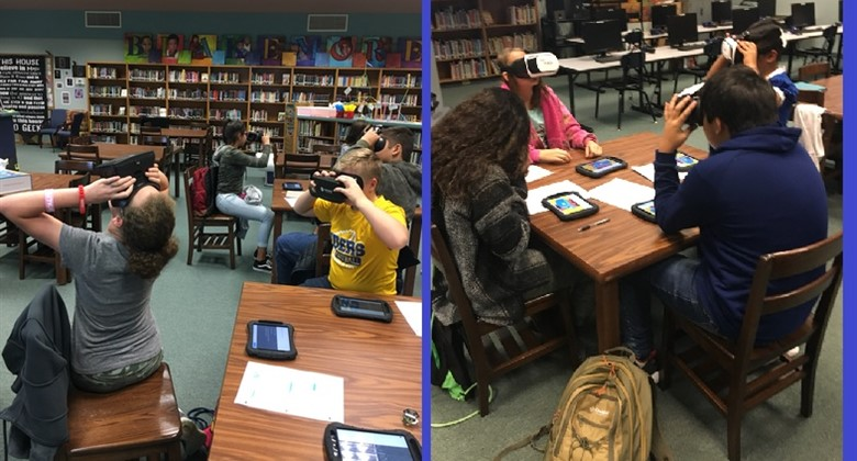Middle school students use Virtual Reality to learn about the Holocaust.