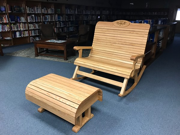 This rocking chair and ottoman were built by the millwork and cabinetry class.
