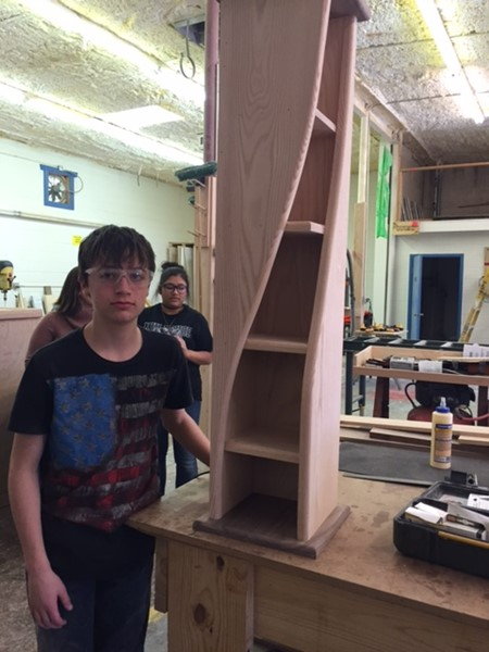 High school students learn woodworking skills with the Career and Technology courses that are offered.