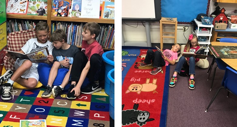 Mimi Farley students enjoy reading to the younger grades.