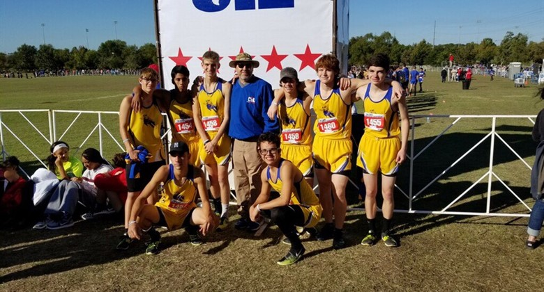 Boys Cross Country Team at UIL State Meet in November.
