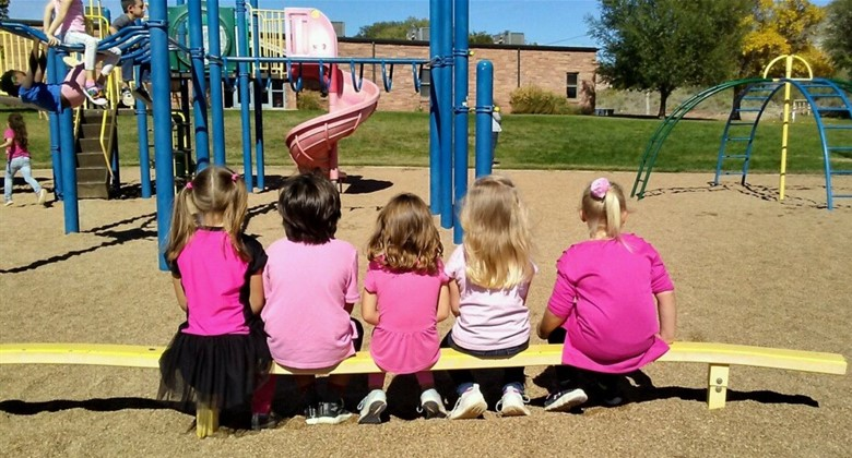 Kindergartners wearing pink for the Pink Out Pep Rally for Cancer Awareness Month.