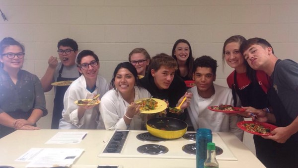High School Students enjoyed their meal that they made during food lab.